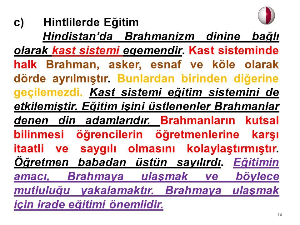 c) Hintlilerde Eğitim Hindistan'da Brahmanizm dinine bağlı olarak kast sistemi egemendir. Kast sisteminde halk Brahman, asker, esnaf ve köle olarak dö