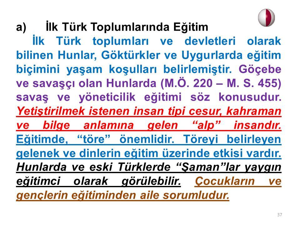 a) İlk Türk Toplumlarında Eğitim İlk Türk toplumları ve devletleri olarak bilinen Hunlar, Göktürkler ve Uygurlarda eğitim biçimini yaşam koşulları bel