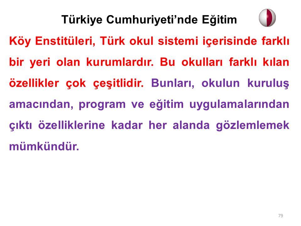 Türkiye Cumhuriyeti'nde Eğitim Köy Enstitüleri, Türk okul sistemi içerisinde farklı bir yeri olan kurumlardır. Bu okulları farklı kılan özellikler çok