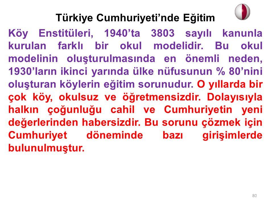 Türkiye Cumhuriyeti'nde Eğitim Köy Enstitüleri, 1940'ta 3803 sayılı kanunla kurulan farklı bir okul modelidir. Bu okul modelinin oluşturulmasında en ö