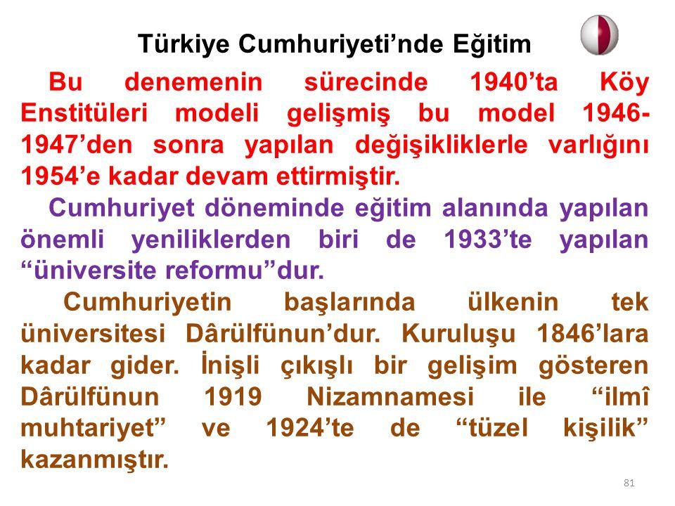 Türkiye Cumhuriyeti'nde Eğitim Bu denemenin sürecinde 1940'ta Köy Enstitüleri modeli gelişmiş bu model 1946- 1947'den sonra yapılan değişikliklerle varlığını 1954'e kadar devam ettirmiştir.