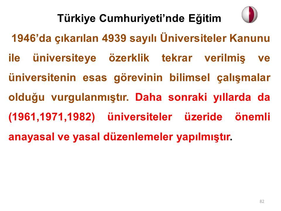 Türkiye Cumhuriyeti'nde Eğitim 1946'da çıkarılan 4939 sayılı Üniversiteler Kanunu ile üniversiteye özerklik tekrar verilmiş ve üniversitenin esas görevinin bilimsel çalışmalar olduğu vurgulanmıştır.