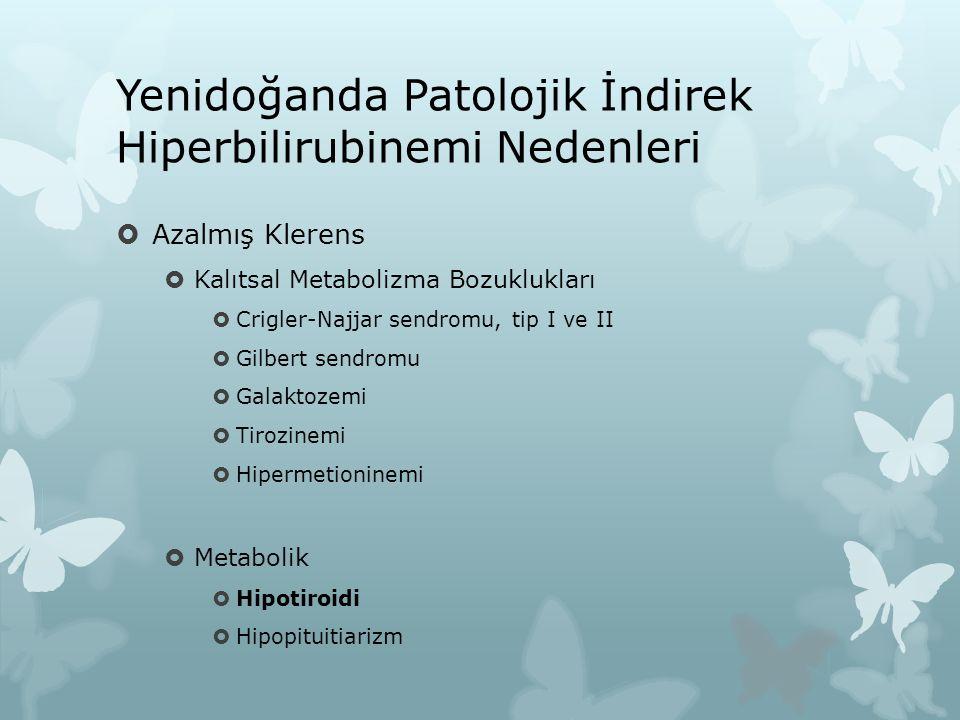 Yenidoğanda Patolojik İndirek Hiperbilirubinemi Nedenleri  Azalmış Klerens  Kalıtsal Metabolizma Bozuklukları  Crigler-Najjar sendromu, tip I ve II