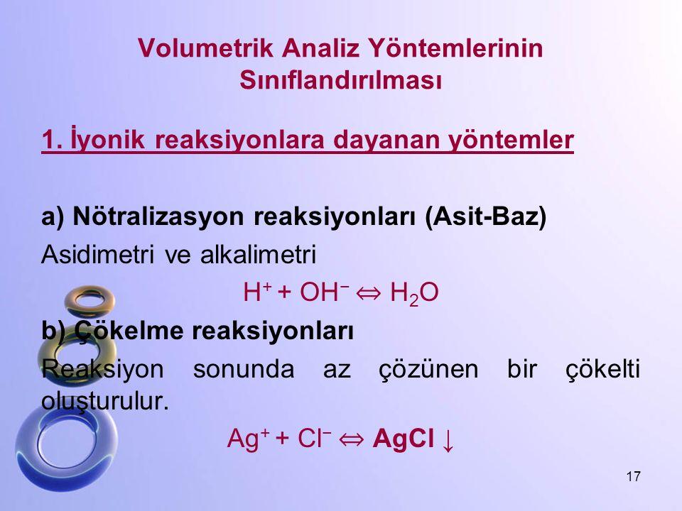 Volumetrik Analiz Yöntemlerinin Sınıflandırılması 1. İyonik reaksiyonlara dayanan yöntemler a) Nötralizasyon reaksiyonları (Asit-Baz) Asidimetri ve al