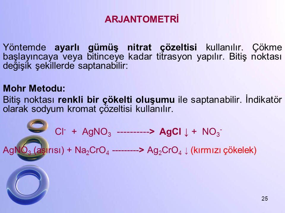 ARJANTOMETRİ Yöntemde ayarlı gümüş nitrat çözeltisi kullanılır. Çökme başlayıncaya veya bitinceye kadar titrasyon yapılır. Bitiş noktası değişik şekil