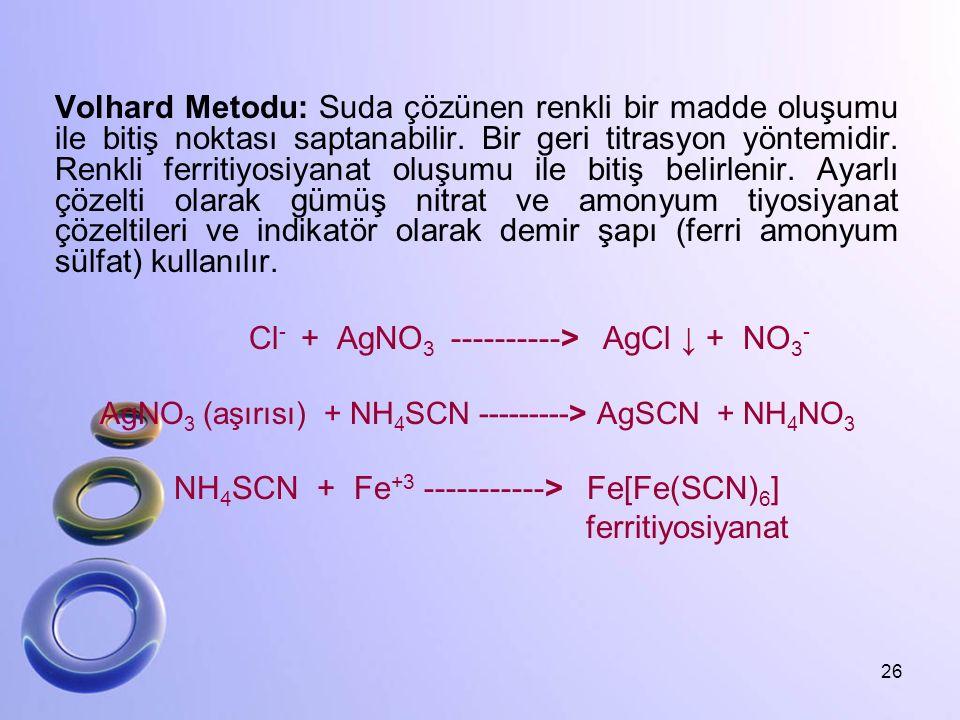 Volhard Metodu: Suda çözünen renkli bir madde oluşumu ile bitiş noktası saptanabilir. Bir geri titrasyon yöntemidir. Renkli ferritiyosiyanat oluşumu i