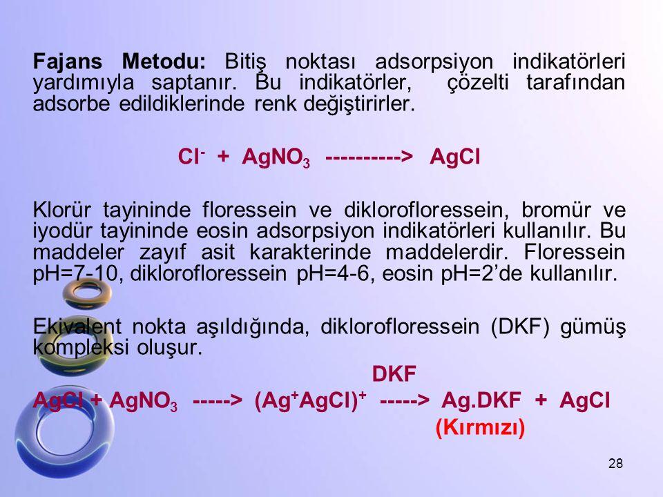 Fajans Metodu: Bitiş noktası adsorpsiyon indikatörleri yardımıyla saptanır. Bu indikatörler, çözelti tarafından adsorbe edildiklerinde renk değiştirir