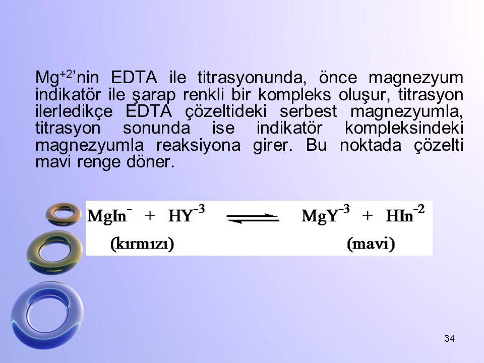 Mg +2 'nin EDTA ile titrasyonunda, önce magnezyum indikatör ile şarap renkli bir kompleks oluşur, titrasyon ilerledikçe EDTA çözeltideki serbest magne