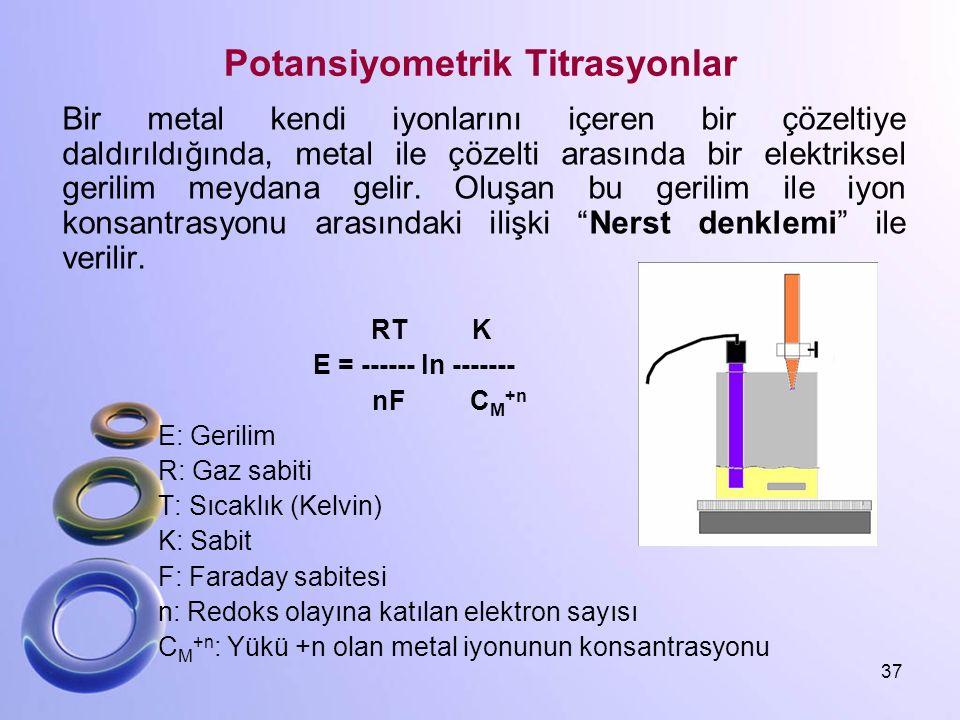 Potansiyometrik Titrasyonlar Bir metal kendi iyonlarını içeren bir çözeltiye daldırıldığında, metal ile çözelti arasında bir elektriksel gerilim meyda