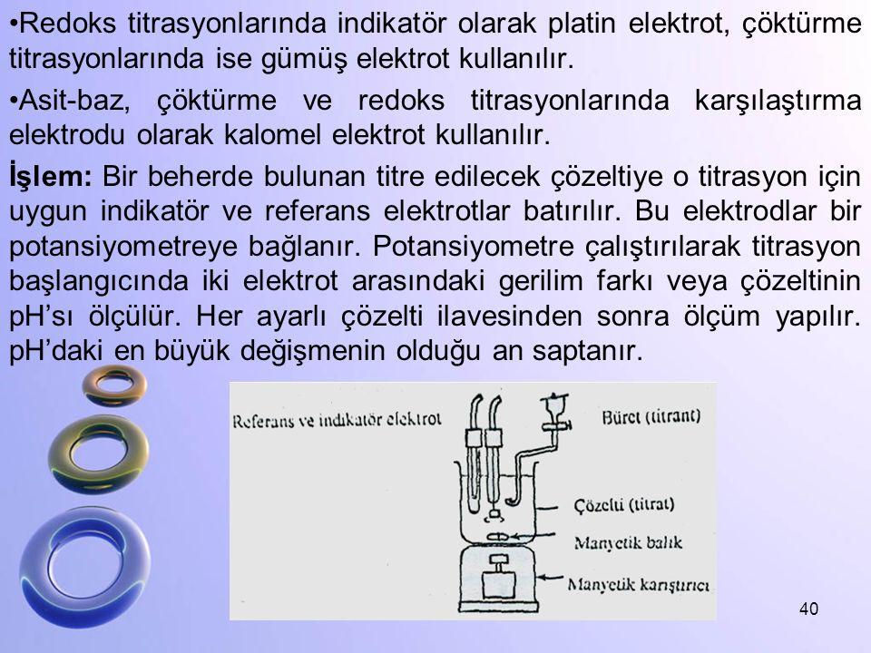 Redoks titrasyonlarında indikatör olarak platin elektrot, çöktürme titrasyonlarında ise gümüş elektrot kullanılır. Asit-baz, çöktürme ve redoks titras