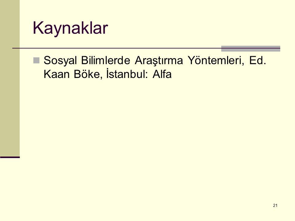 Kaynaklar Sosyal Bilimlerde Araştırma Yöntemleri, Ed. Kaan Böke, İstanbul: Alfa 21