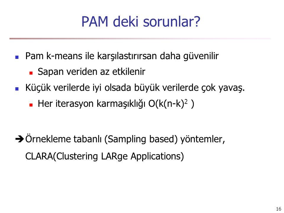 16 PAM deki sorunlar? Pam k-means ile karşılastırırsan daha güvenilir Sapan veriden az etkilenir Küçük verilerde iyi olsada büyük verilerde çok yavaş.