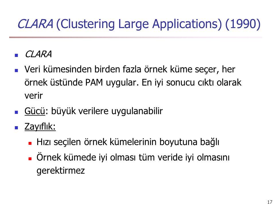 17 CLARA (Clustering Large Applications) (1990) CLARA Veri kümesinden birden fazla örnek küme seçer, her örnek üstünde PAM uygular. En iyi sonucu cıkt