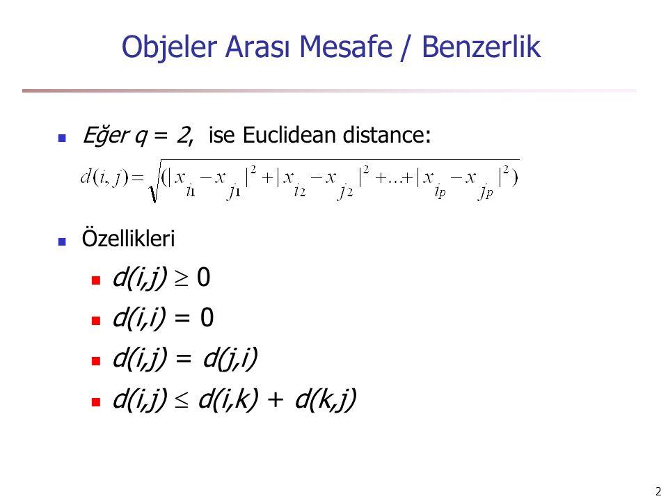 3 Nominal/Kategorik Değişkenler Kategorik değişkenler 2 yada daha fazla durumda olabilirler, ör., kırmızı, yeşil, sarı, mavi Yöntem: Jaccard distance m: eşleşenlerin sayısı, p: toplam değişken sayısı A = {ekmek, un, muz} B = {muz, süt, peynir, ekmek} d(A,B) = (5 – 2) / 5 = 0.6