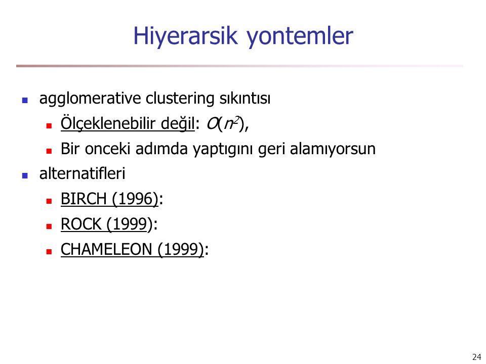 24 Hiyerarsik yontemler agglomerative clustering sıkıntısı Ölçeklenebilir değil: O(n 2 ), Bir onceki adımda yaptıgını geri alamıyorsun alternatifleri BIRCH (1996): ROCK (1999): CHAMELEON (1999):