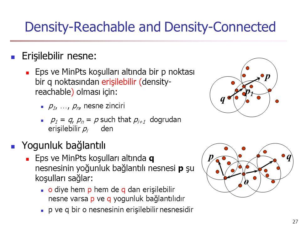 27 Density-Reachable and Density-Connected Erişilebilir nesne: Eps ve MinPts koşulları altında bir p noktası bir q noktasından erişilebilir (density- reachable) olması için: p 1, …, p n, nesne zinciri p 1 = q, p n = p such that p i+1 dogrudan erişilebilir p i den Yogunluk bağlantılı Eps ve MinPts koşulları altında q nesnesinin yoğunluk bağlantılı nesnesi p şu koşulları sağlar: o diye hem p hem de q dan erişilebilir nesne varsa p ve q yogunluk bağlantılıdır p ve q bir o nesnesinin erişilebilir nesnesidir p q p1p1 pq o