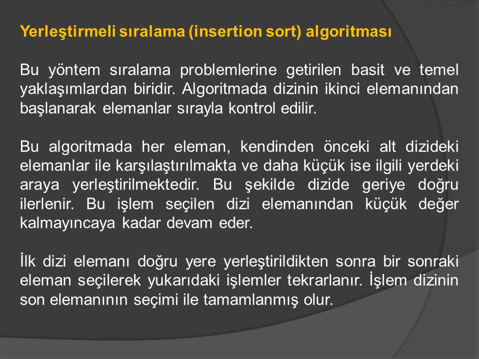 Yerleştirmeli sıralama (insertion sort) algoritması Bu yöntem sıralama problemlerine getirilen basit ve temel yaklaşımlardan biridir. Algoritmada dizi