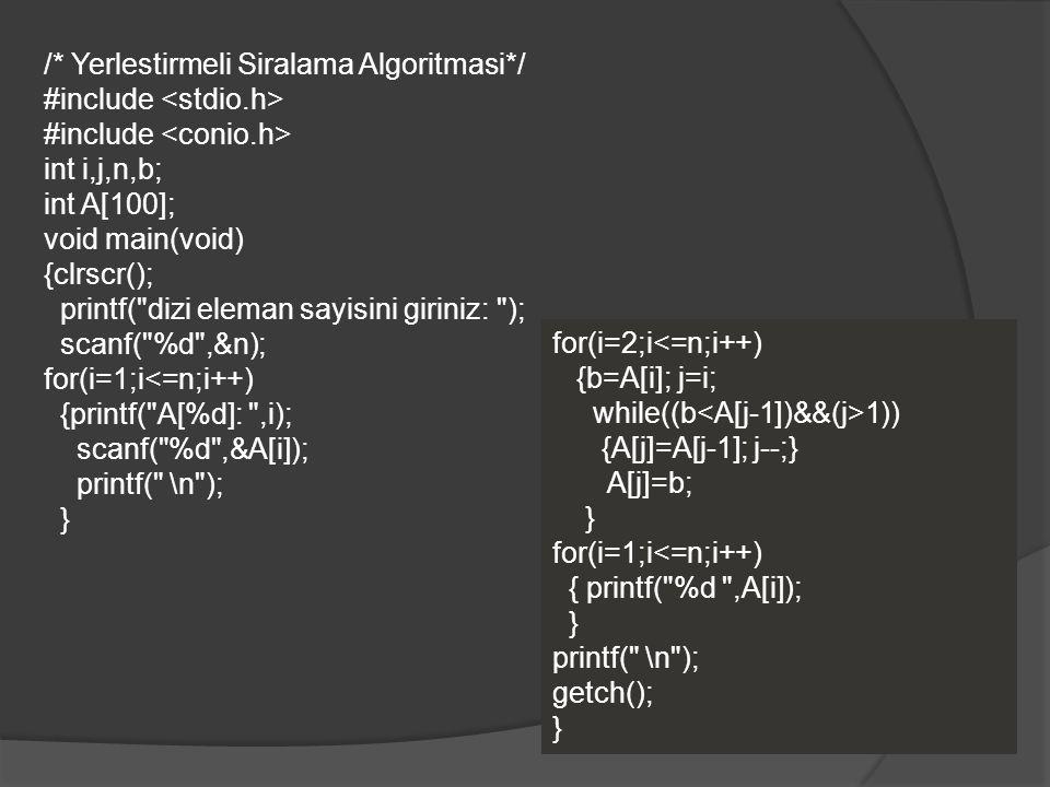 /* Yerlestirmeli Siralama Algoritmasi*/ #include int i,j,n,b; int A[100]; void main(void) {clrscr(); printf(