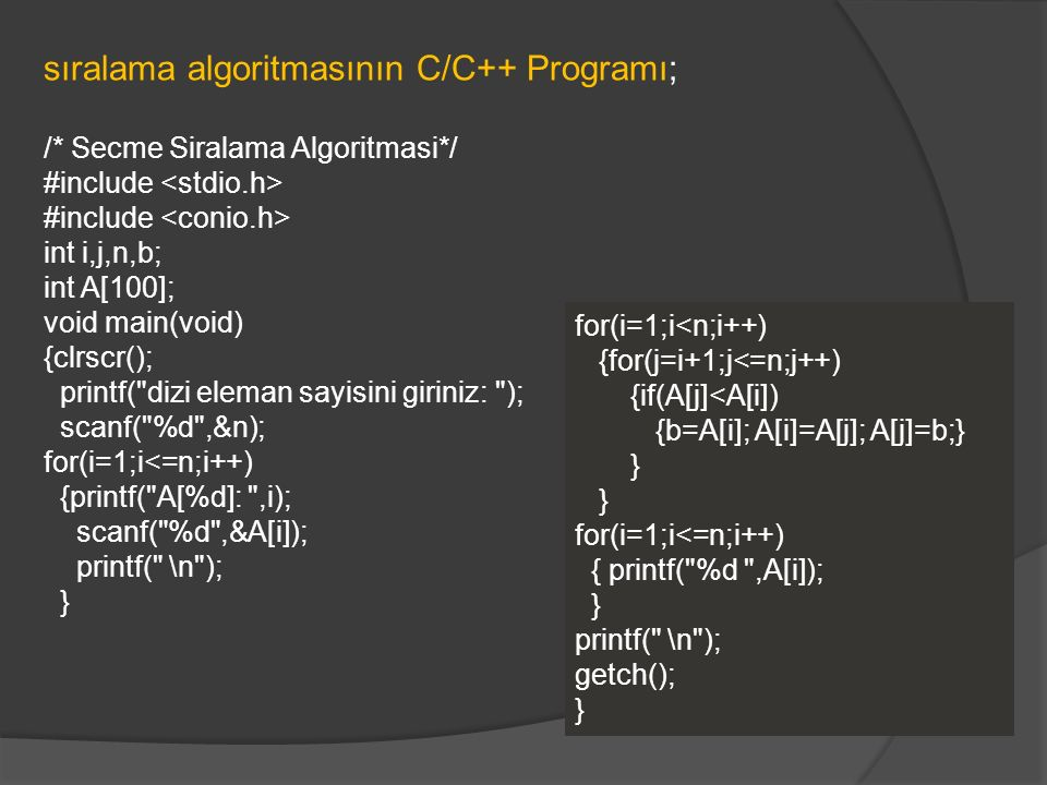 sıralama algoritmasının C/C++ Programı; /* Secme Siralama Algoritmasi*/ #include int i,j,n,b; int A[100]; void main(void) {clrscr(); printf(