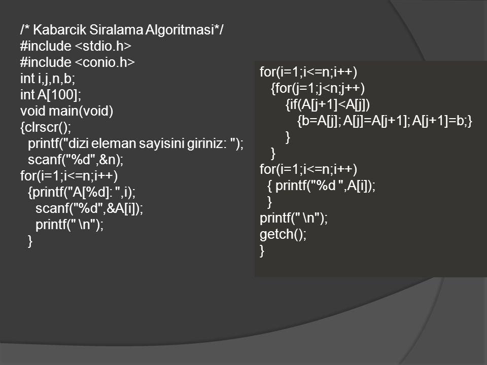 /* Kabarcik Siralama Algoritmasi*/ #include int i,j,n,b; int A[100]; void main(void) {clrscr(); printf(