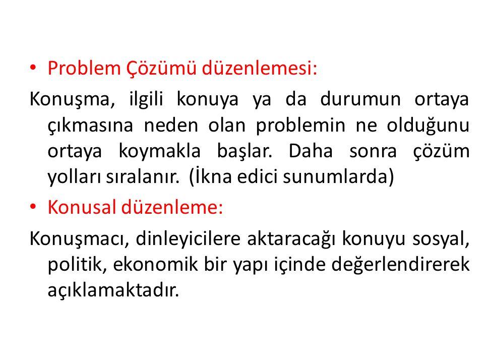 Problem Çözümü düzenlemesi: Konuşma, ilgili konuya ya da durumun ortaya çıkmasına neden olan problemin ne olduğunu ortaya koymakla başlar.
