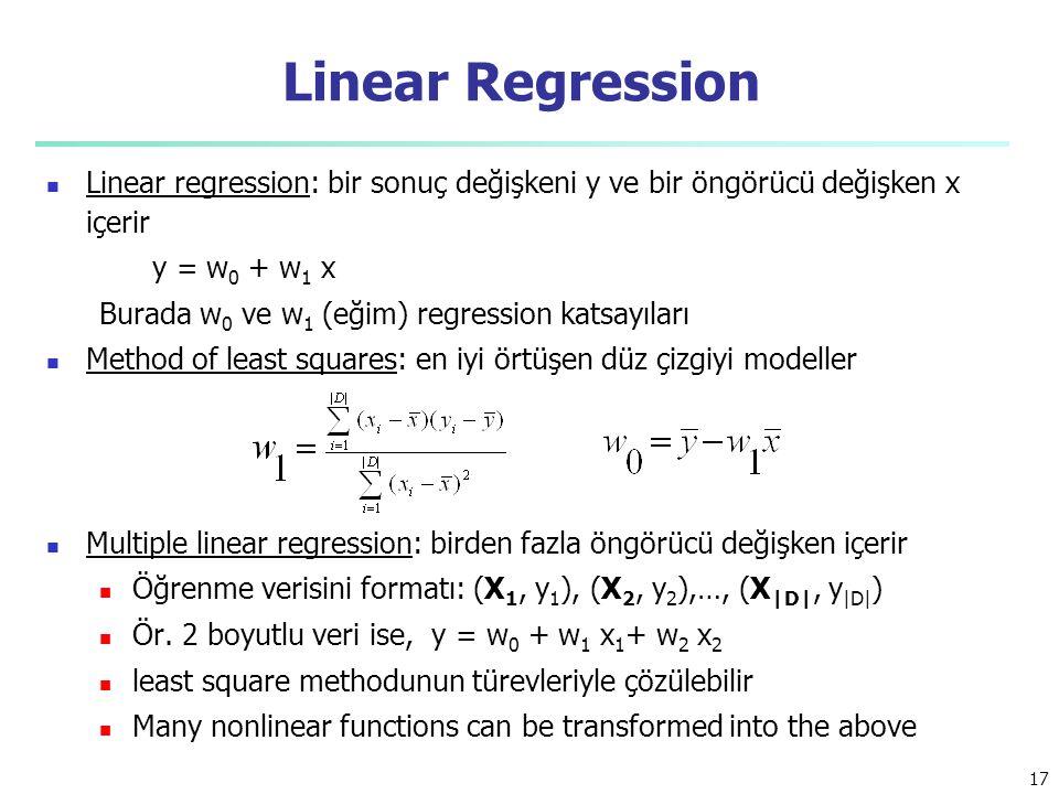 Linear Regression Linear regression: bir sonuç değişkeni y ve bir öngörücü değişken x içerir y = w 0 + w 1 x Burada w 0 ve w 1 (eğim) regression katsayıları Method of least squares: en iyi örtüşen düz çizgiyi modeller Multiple linear regression: birden fazla öngörücü değişken içerir Öğrenme verisini formatı: (X 1, y 1 ), (X 2, y 2 ),…, (X |D|, y |D| ) Ör.
