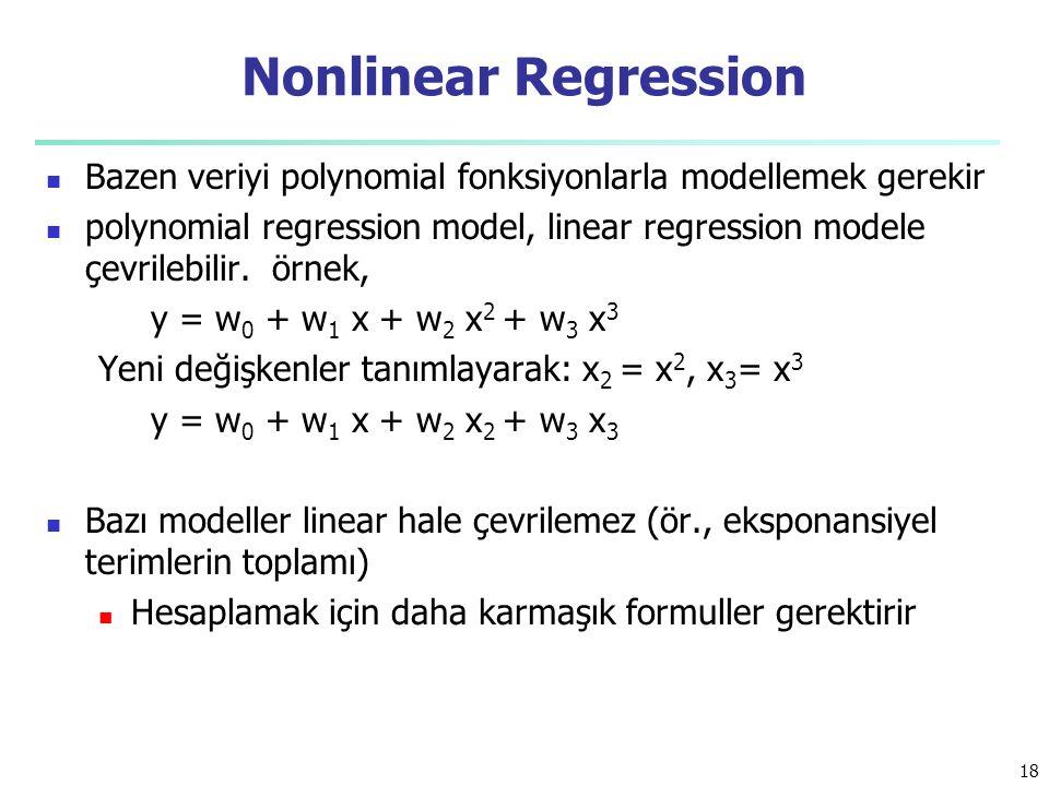 Bazen veriyi polynomial fonksiyonlarla modellemek gerekir polynomial regression model, linear regression modele çevrilebilir. örnek, y = w 0 + w 1 x +