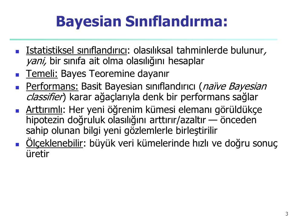 Bayesian Sınıflandırma: Istatistiksel sınıflandırıcı: olasılıksal tahminlerde bulunur, yani, bir sınıfa ait olma olasılığını hesaplar Temeli: Bayes Te