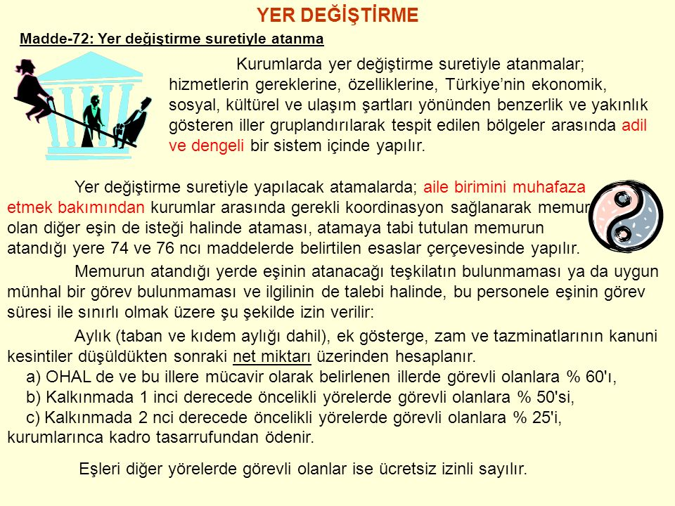 YER DEĞİŞTİRME Madde-72: Yer değiştirme suretiyle atanma Kurumlarda yer değiştirme suretiyle atanmalar; hizmetlerin gereklerine, özelliklerine, Türkiye'nin ekonomik, sosyal, kültürel ve ulaşım şartları yönünden benzerlik ve yakınlık gösteren iller gruplandırılarak tespit edilen bölgeler arasında adil ve dengeli bir sistem içinde yapılır.