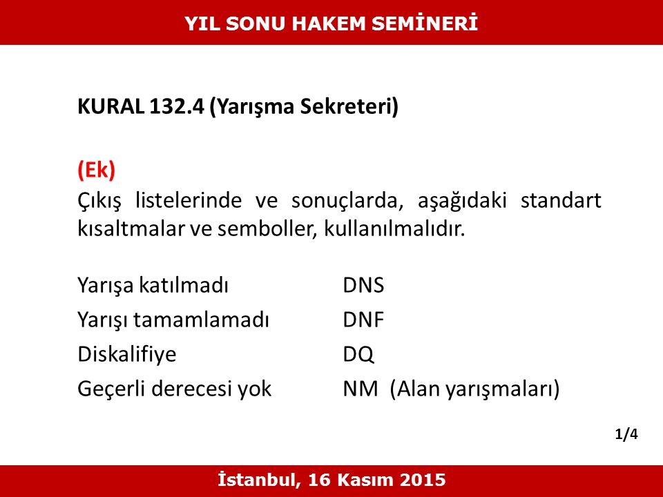 KURAL 132.4 (Yarışma Sekreteri) (Ek) Çıkış listelerinde ve sonuçlarda, aşağıdaki standart kısaltmalar ve semboller, kullanılmalıdır. Yarışa katılmadıD
