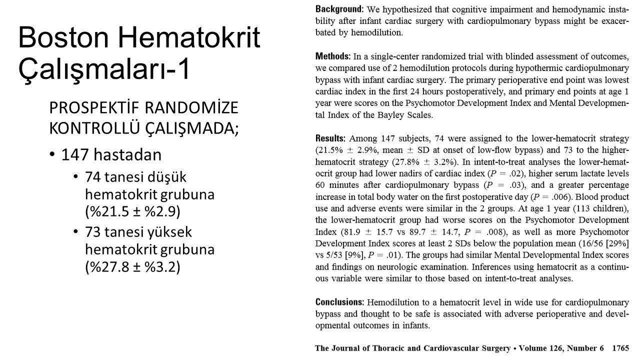 Boston Hematokrit Çalışmaları-1 PROSPEKTİF RANDOMİZE KONTROLLÜ ÇALIŞMADA; 147 hastadan 74 tanesi düşük hematokrit grubuna (%21.5 ± %2.9) 73 tanesi yük
