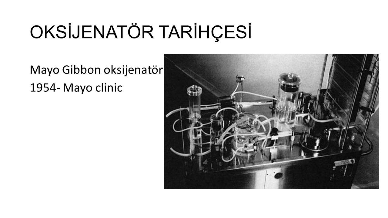 OKSİJENATÖR TARİHÇESİ DeWall-Lillehei bubble oksijenatör 1954 – University of Minessota