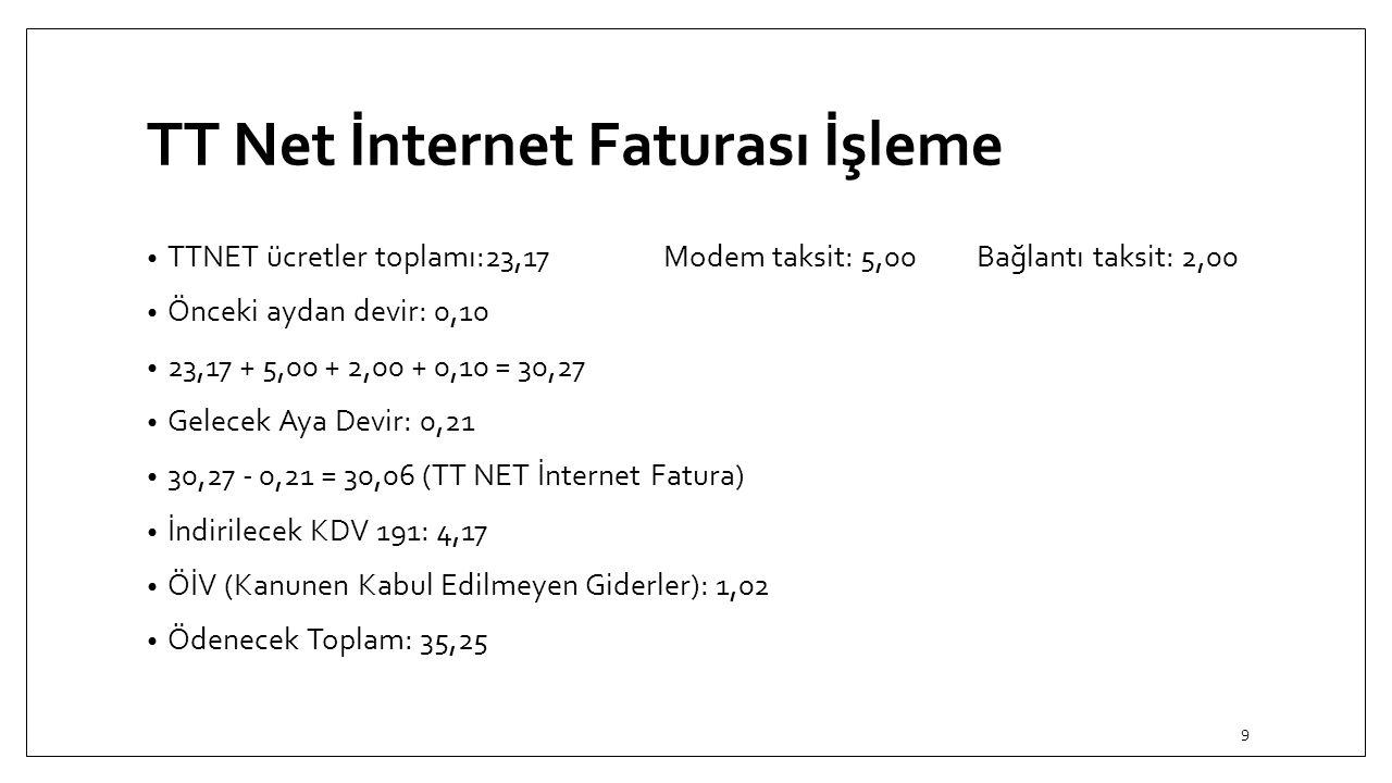 TT Net İnternet Faturası İşleme TTNET ücretler toplamı:23,17Modem taksit: 5,00Bağlantı taksit: 2,00 Önceki aydan devir: 0,10 23,17 + 5,00 + 2,00 + 0,1