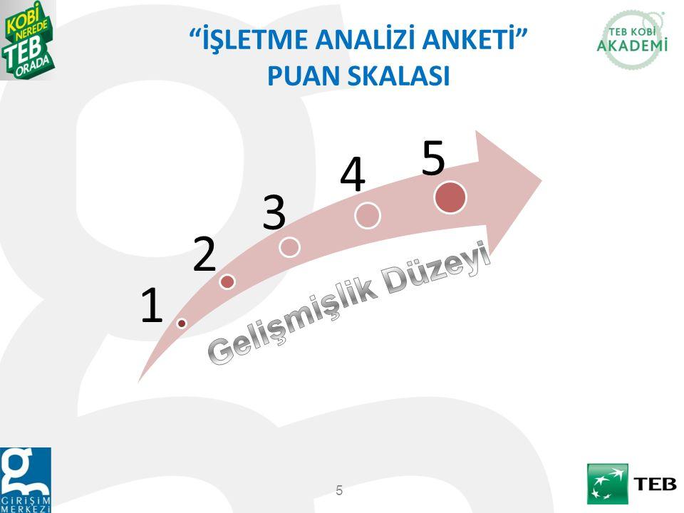 """İŞLETME ANALİZİ ANKETİ"" PUAN SKALASI 5 1 2 3 4 5"