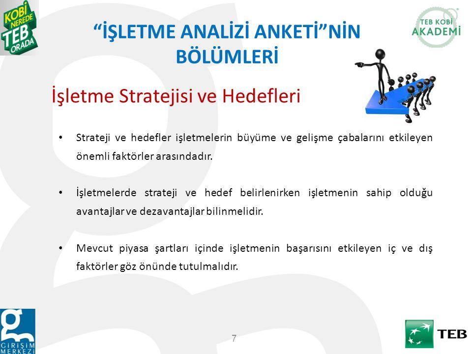 """""""İŞLETME ANALİZİ ANKETİ""""NİN BÖLÜMLERİ 7 Strateji ve hedefler işletmelerin büyüme ve gelişme çabalarını etkileyen önemli faktörler arasındadır. İşletme"""