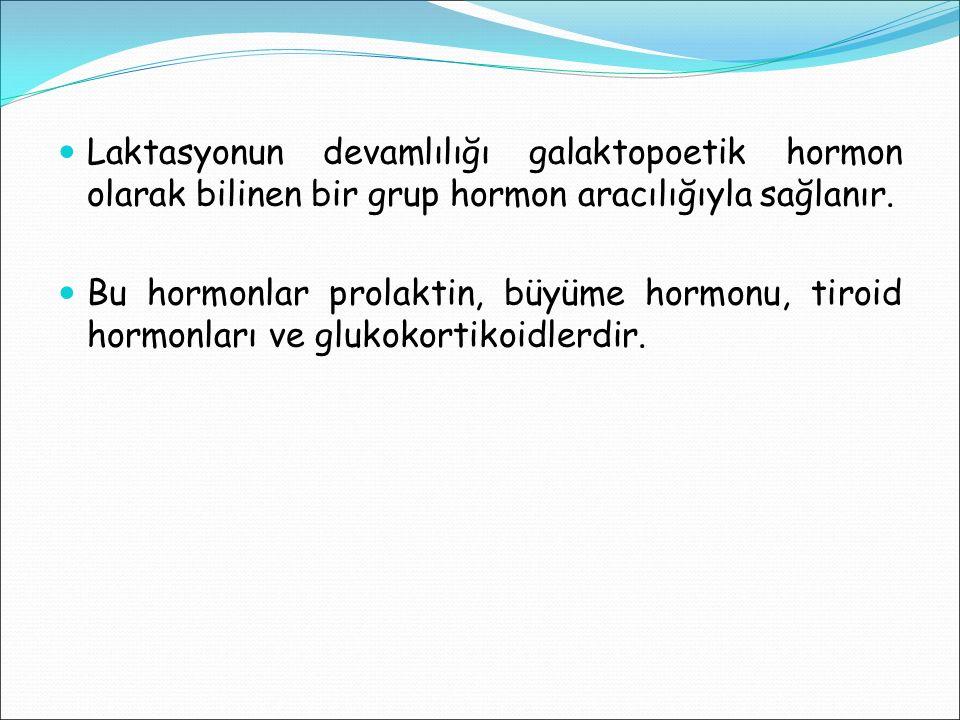 Laktasyonun devamlılığı galaktopoetik hormon olarak bilinen bir grup hormon aracılığıyla sağlanır. Bu hormonlar prolaktin, büyüme hormonu, tiroid horm
