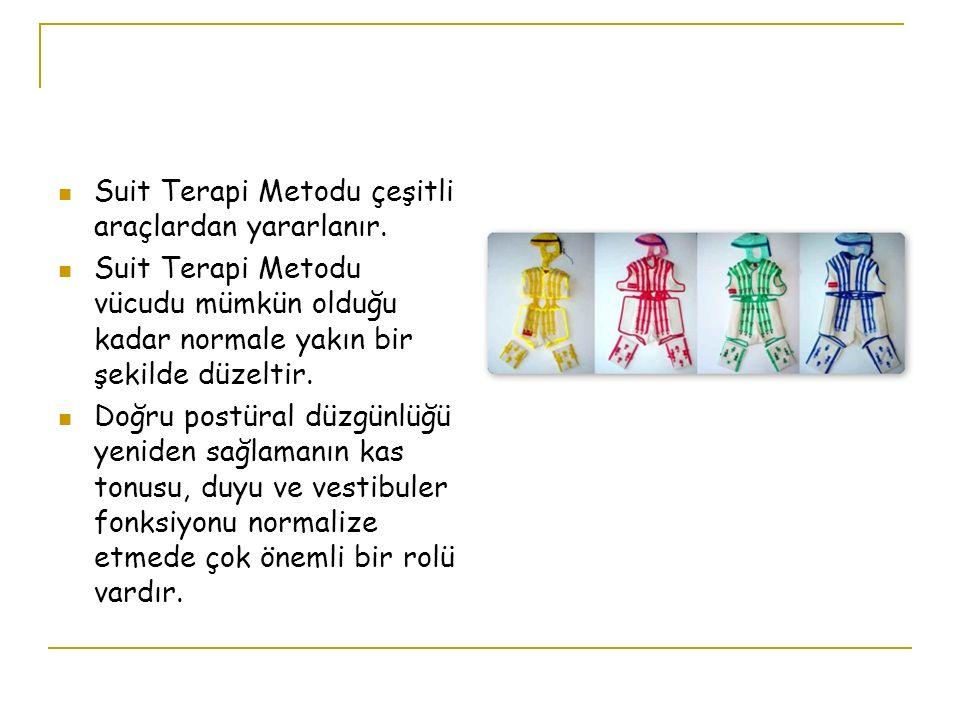 Suit Terapi Metodu çeşitli araçlardan yararlanır. Suit Terapi Metodu vücudu mümkün olduğu kadar normale yakın bir şekilde düzeltir. Doğru postüral düz