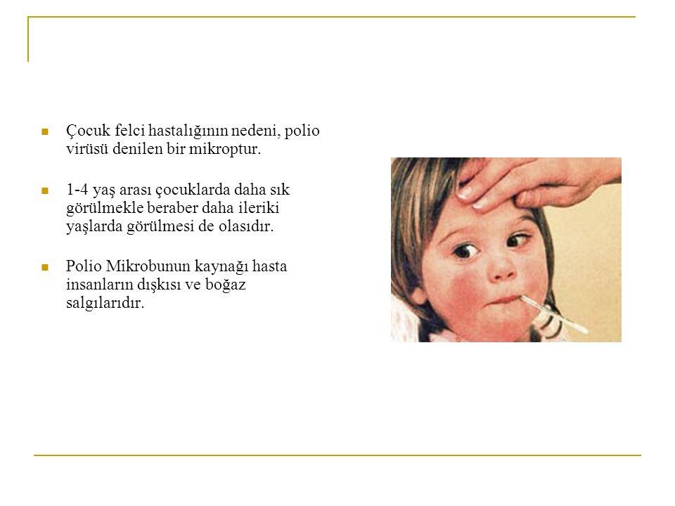 Çocuk felci hastalığının nedeni, polio virüsü denilen bir mikroptur. 1-4 yaş arası çocuklarda daha sık görülmekle beraber daha ileriki yaşlarda görülm