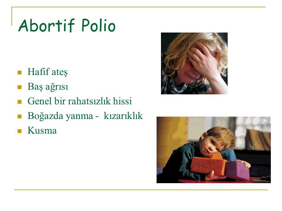 Nonparalitik Polio Orta dereceli ateş Baş ağrısı Boyun sertliği (ense sertliği) Ense ağrısı (boyun ağrısı) Kusma İshal Aşırı yorgunluk, halsizlik Huzursuzluk Sırt, kol, bacak, boyun ve karında ağrı ve sertleşme Herhangi bir bölgede kas spazmları ve hassasiyet Ciltte kızarıklıklar