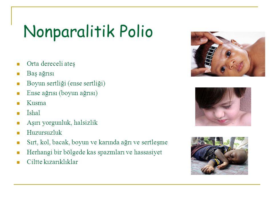 Nonparalitik Polio Orta dereceli ateş Baş ağrısı Boyun sertliği (ense sertliği) Ense ağrısı (boyun ağrısı) Kusma İshal Aşırı yorgunluk, halsizlik Huzu
