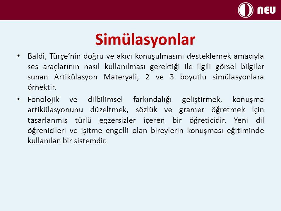 Simülasyonlar Baldi, Türçe'nin doğru ve akıcı konuşulmasını desteklemek amacıyla ses araçlarının nasıl kullanılması gerektiği ile ilgili görsel bilgil