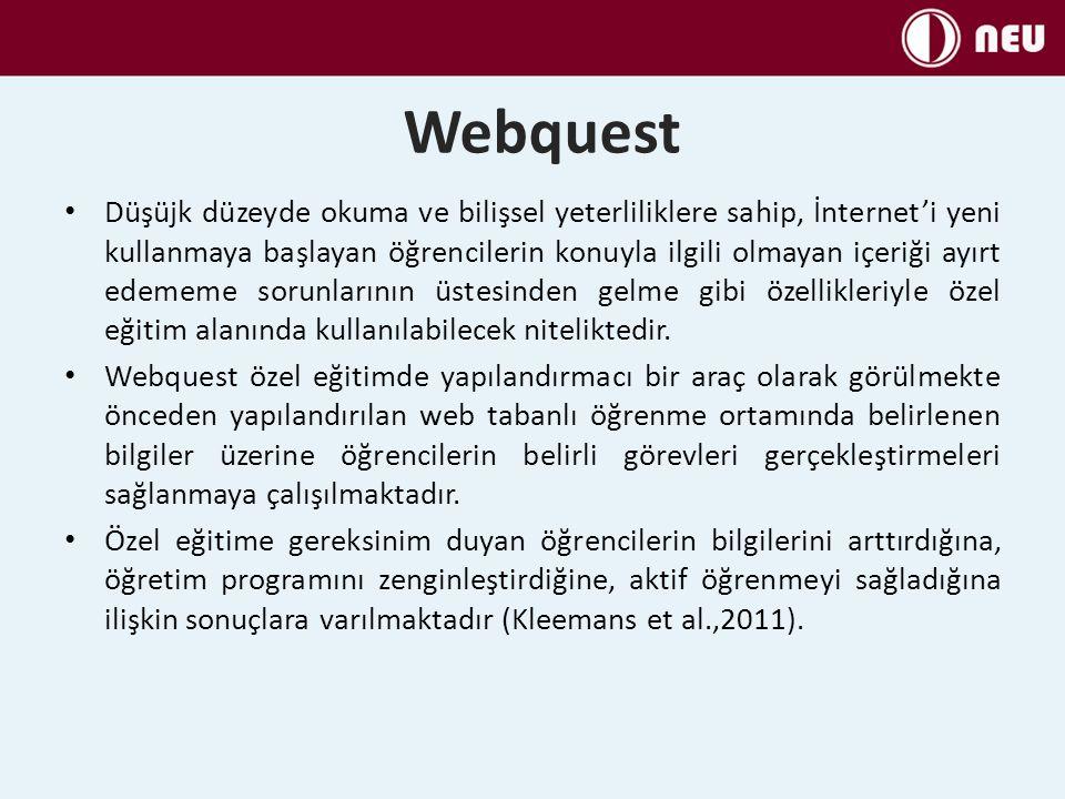 Webquest Düşüjk düzeyde okuma ve bilişsel yeterliliklere sahip, İnternet'i yeni kullanmaya başlayan öğrencilerin konuyla ilgili olmayan içeriği ayırt
