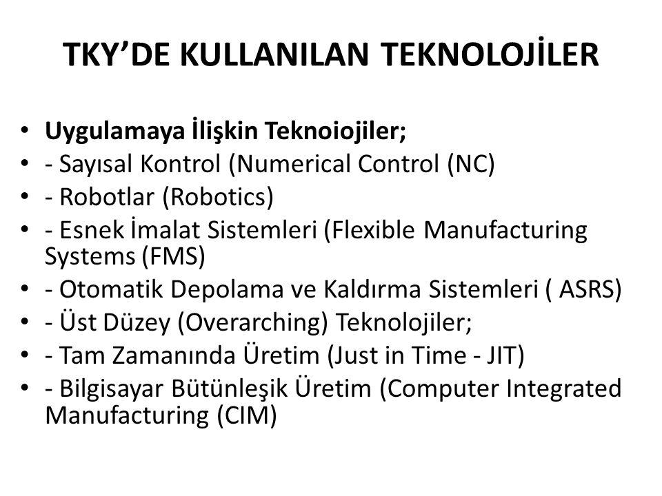 Uygulamaya İlişkin Teknoiojiler; - Sayısal Kontrol (Numerical Control (NC) - Robotlar (Robotics) - Esnek İmalat Sistemleri (Flexible Manufacturing Systems (FMS) - Otomatik Depolama ve Kaldırma Sistemleri ( ASRS) - Üst Düzey (Overarching) Teknolojiler; - Tam Zamanında Üretim (Just in Time - JIT) - Bilgisayar Bütünleşik Üretim (Computer Integrated Manufacturing (CIM) TKY'DE KULLANILAN TEKNOLOJİLER