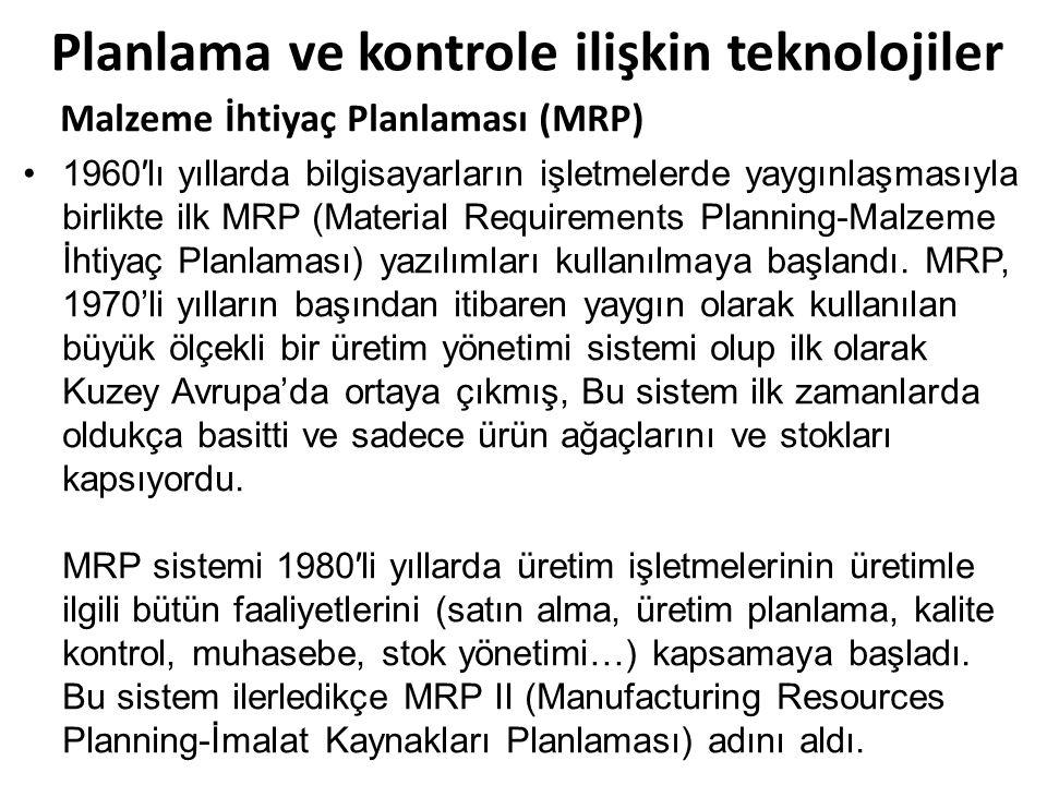 Planlama ve kontrole ilişkin teknolojiler Malzeme İhtiyaç Planlaması (MRP) 1960′lı yıllarda bilgisayarların işletmelerde yaygınlaşmasıyla birlikte ilk MRP (Material Requirements Planning-Malzeme İhtiyaç Planlaması) yazılımları kullanılmaya başlandı.