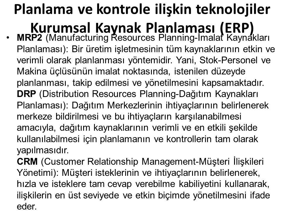 MRP2 (Manufacturing Resources Planning-İmalat Kaynakları Planlaması): Bir üretim işletmesinin tüm kaynaklarının etkin ve verimli olarak planlanması yöntemidir.