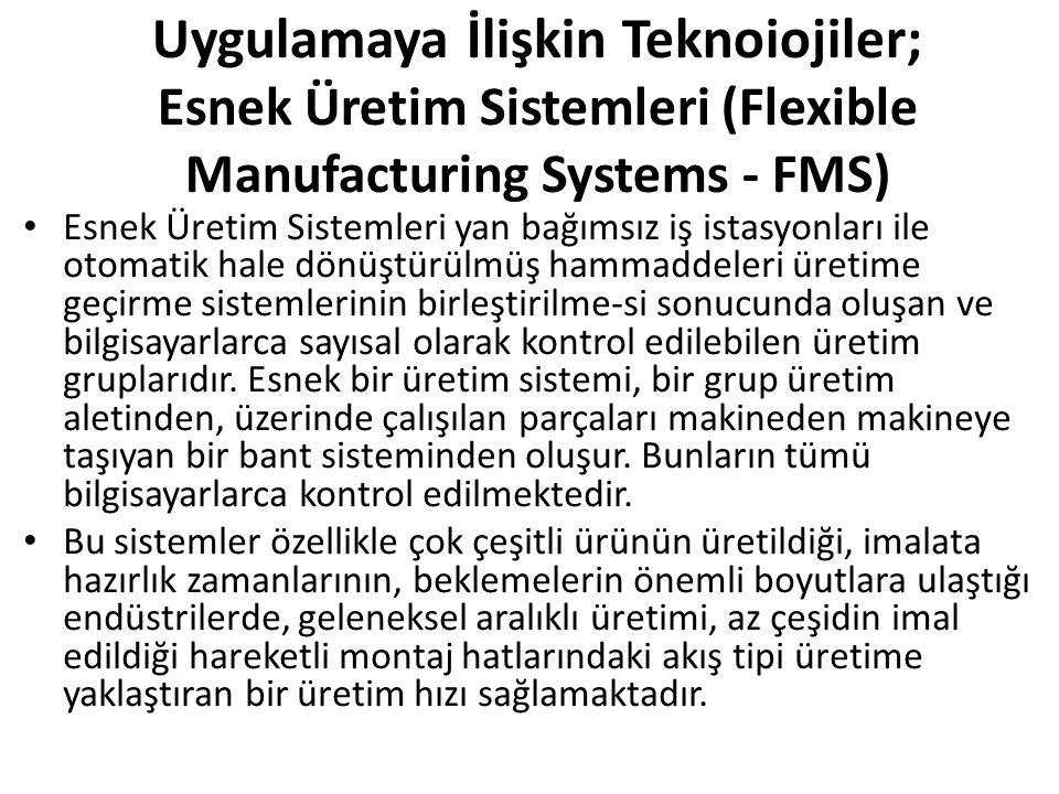 Uygulamaya İlişkin Teknoiojiler; Esnek Üretim Sistemleri (Flexible Manufacturing Systems - FMS) Esnek Üretim Sistemleri yan bağımsız iş istasyonları ile otomatik hale dönüştürülmüş hammaddeleri üretime geçirme sistemlerinin birleştirilme-si sonucunda oluşan ve bilgisayarlarca sayısal olarak kontrol edilebilen üretim gruplarıdır.