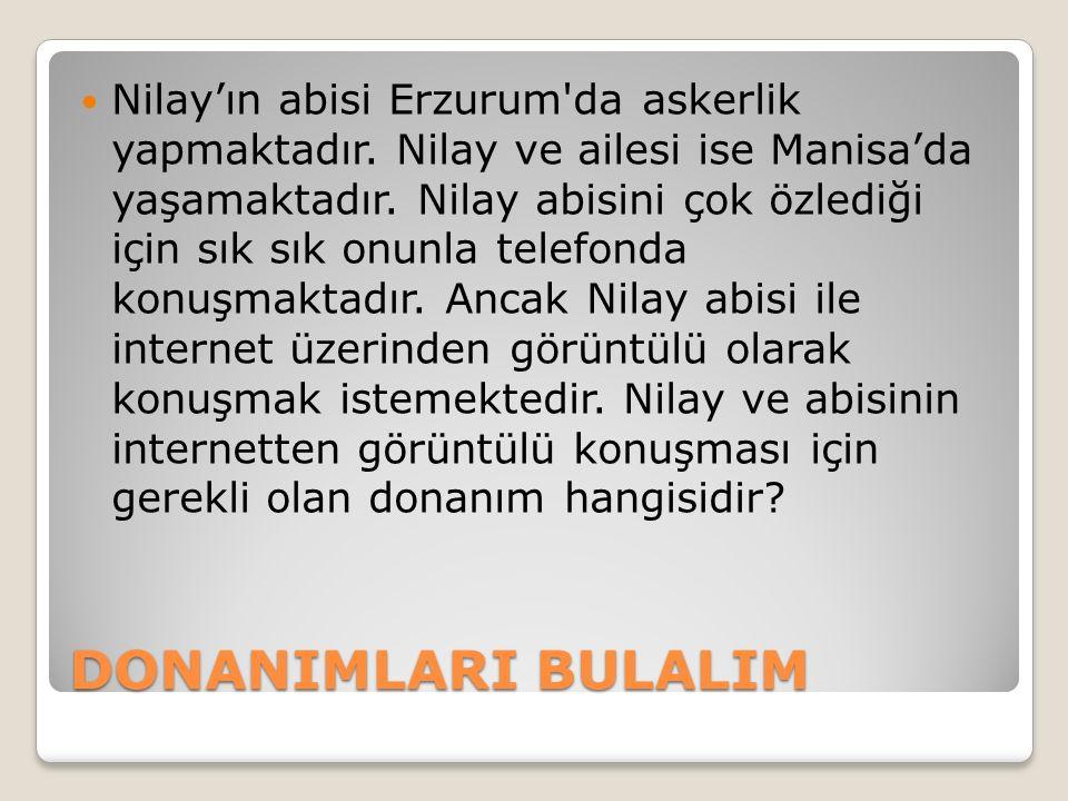 DONANIMLARI BULALIM Nilay'ın abisi Erzurum'da askerlik yapmaktadır. Nilay ve ailesi ise Manisa'da yaşamaktadır. Nilay abisini çok özlediği için sık sı