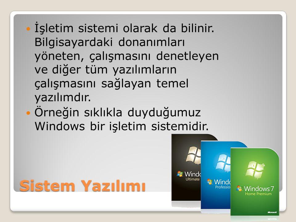 Sistem Yazılımı İşletim sistemi olarak da bilinir. Bilgisayardaki donanımları yöneten, çalışmasını denetleyen ve diğer tüm yazılımların çalışmasını sa