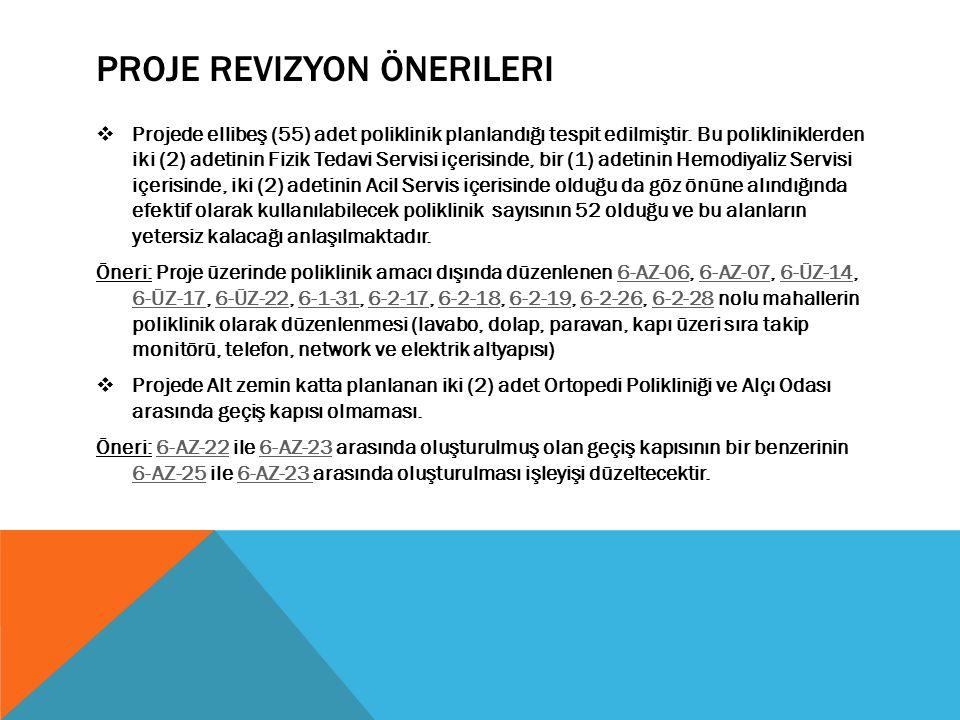 PROJE REVIZYON ÖNERILERI  Projede ellibeş (55) adet poliklinik planlandığı tespit edilmiştir.