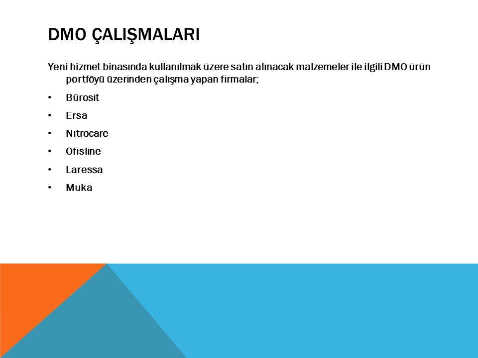 DMO ÇALIŞMALARI Yeni hizmet binasında kullanılmak üzere satın alınacak malzemeler ile ilgili DMO ürün portföyü üzerinden çalışma yapan firmalar; Bürosit Ersa Nitrocare Ofisline Laressa Muka